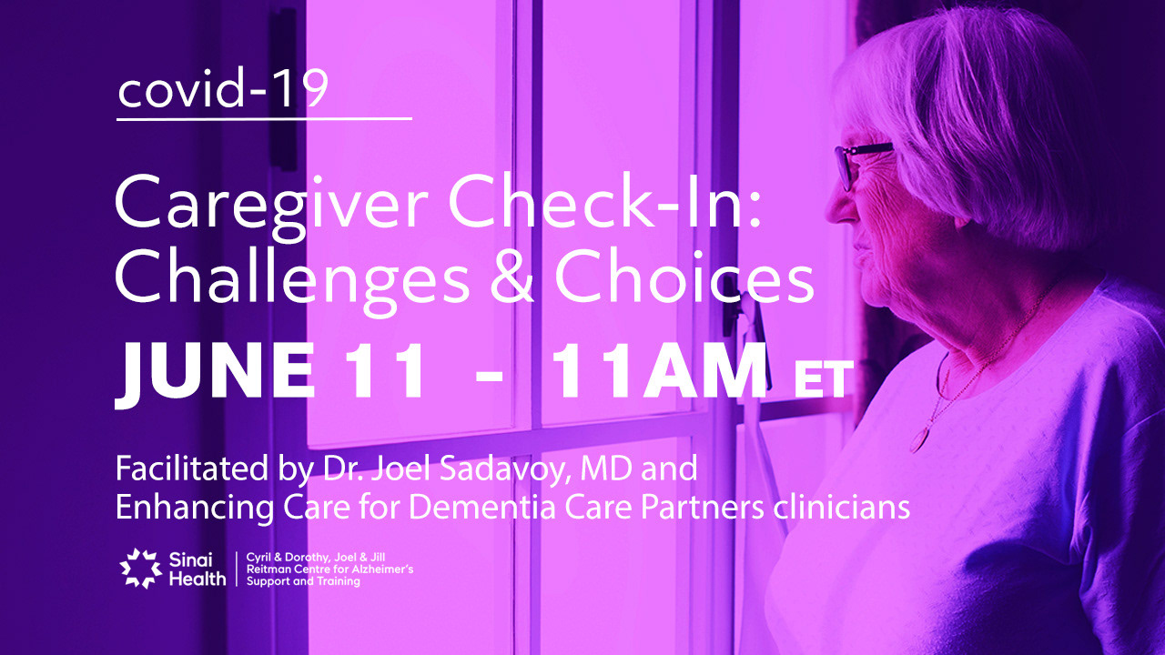 Promotional card used on social media for the Caregiver Check-in in COVID-19 series with Dr. Joel Sadavoy, MD